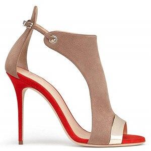 Image 3 - MORAZORA 2019 large size 35 45 women Gladiator sandals flock buckle summer stiletto high heels shoes sexy fashion wedding shoes