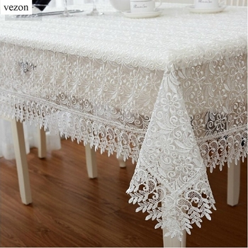 Vezon White Europe Elegant Polyester Satin Full Lace Tablecloth Wedding  Organza Table Cloth Cover Overlays Home Decor Textiles