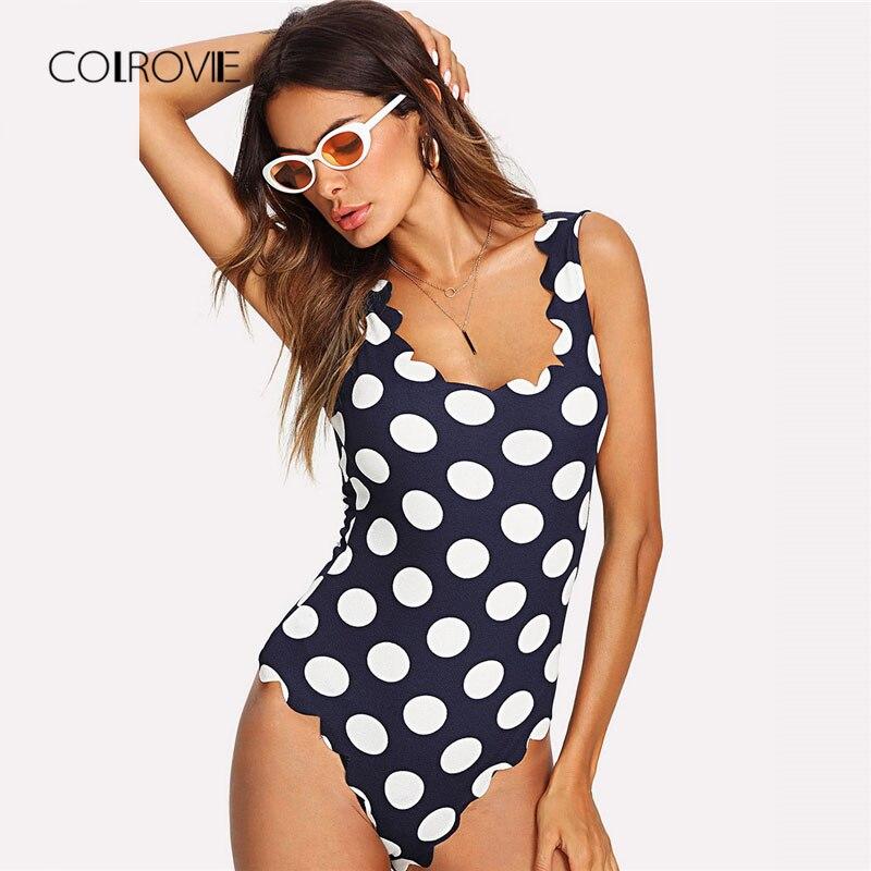 COLROVIE Polka Dot Scalloped Trim Sexy Bodysuit 2018 New Summer Beach Women Bodysuits Sl ...