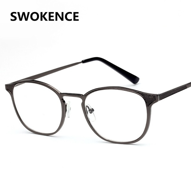 SWOKENCE Fashion Design Elegant Metal Frame Plain Glass Spectacles ...