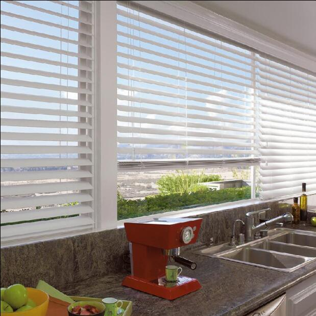 Free Shipping White Wood Wooden Venetian Blinds Real Wood With Cord