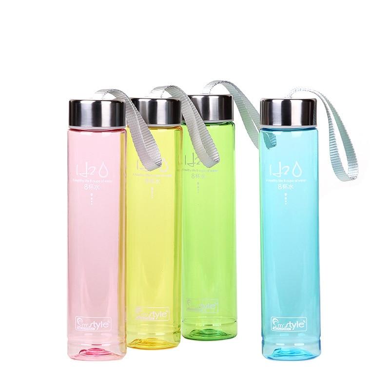 Outdoor Sports Water Bottle 280ML Transparent Portable Bike Sports Unbreakable Plastic Water Bottle