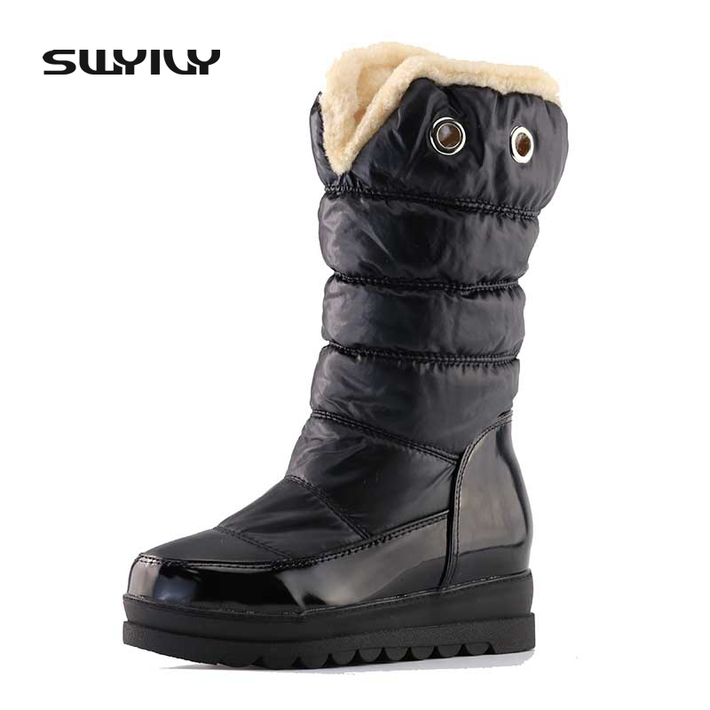 Two Wear Waterproof Fur Snow Boots Woman 2017 Platform Down Warm Winter Shoes Mid High Female Boots Thick Bottom Casual 43 Size
