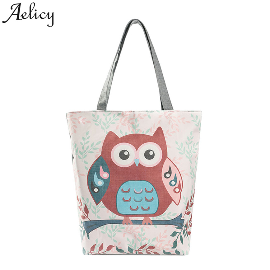 Female Floral And Owl Printed Canvas Tote Casual Beach Bags Large Capacity Shoppingbag Daily Use Handbag