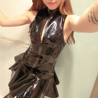 Hot Sexy Women Fancy Dress Wet Look PVC Shiny Clubwear Dance Porn Mini Dress Costumes Imitation leather Free Shipping