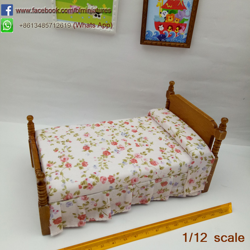 Dollhouse Miniature Country Style Single Bed Model with Flower Printing  Doll Bedroom Furniture Dolls & Miniatures 112 Scale