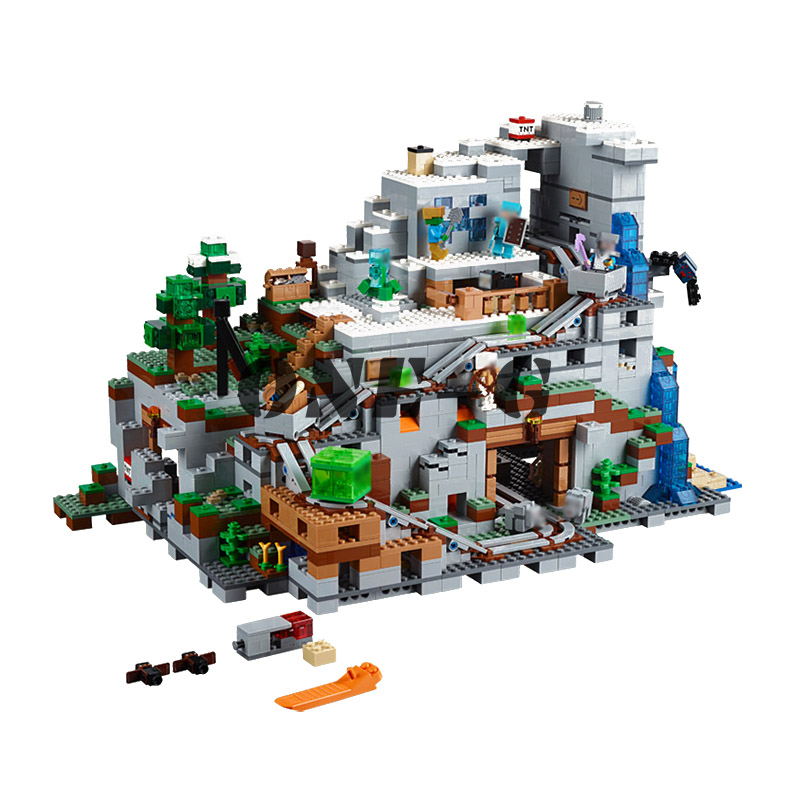 Compatible with My worlds Minecraft 21137 Building blocks 18032 2932pcs Bricks The Mountain Cave figures toys