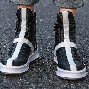 Image 3 - Мужские кроссовки в стиле хип хоп, уличная танцевальная обувь с высоким берцем, кожаная повседневная обувь на толстой подошве, желтые, белые кроссовки на плоской подошве, 2019