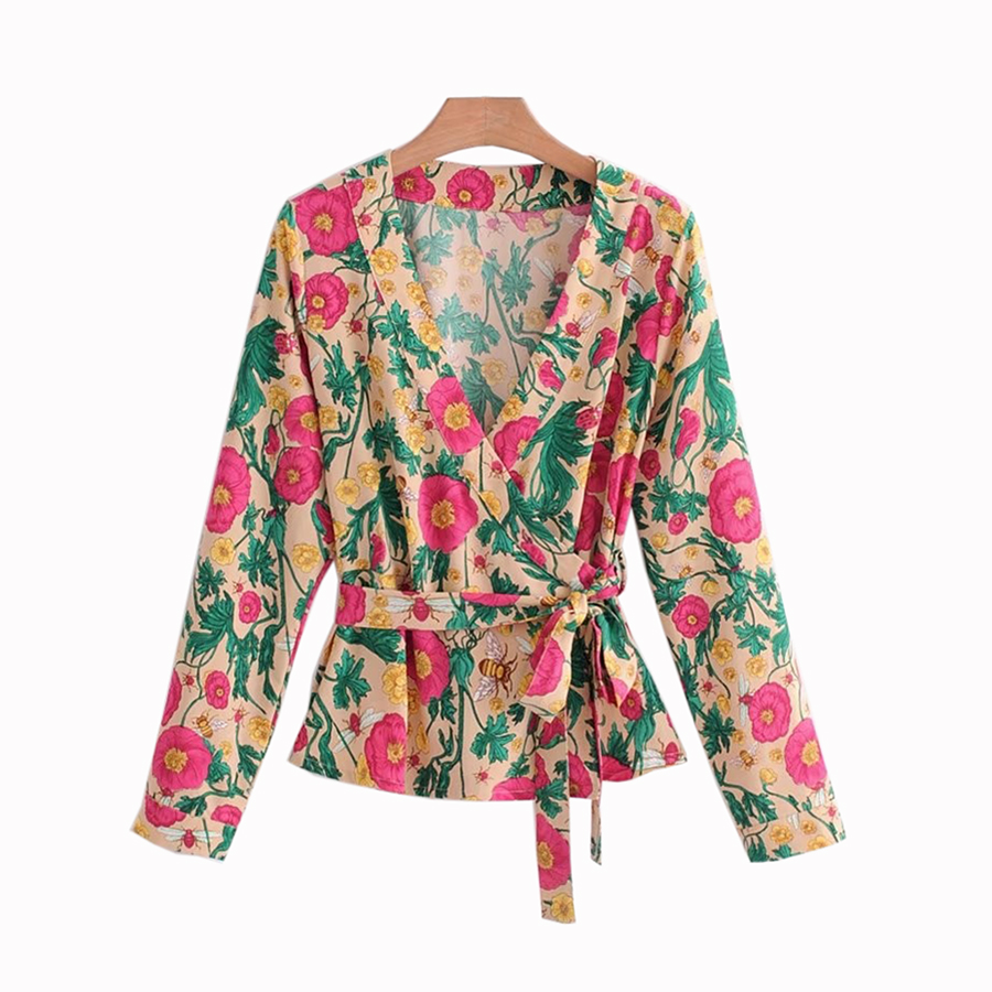 2018 women long sleeve shirt Summer v neck Bow tie at side Sashes female blouse red floral printed drop shipp SML cross design