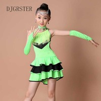 Djgrster 새로운 섹시한 민소매 장식 조각 여자 아이 볼룸 드레스/탱고 살사 라틴어 댄스 dress 어린이 차차 댄스 드레
