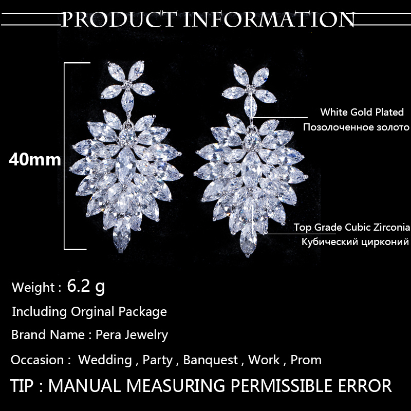 5768a7e2b9265 Romantic Big Flower Shaped Pave Setting Bridal Cubic Zirconia Long Dangle  Drop Earrings For Wedding Aniversary Jewelry Gift E005-in Drop Earrings  from ...