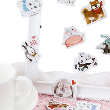 20pack/lot Cute Rabbit Dog Cat Collection Diary Mini Japanese box Stickers set Scrapbooking Flakes Journal