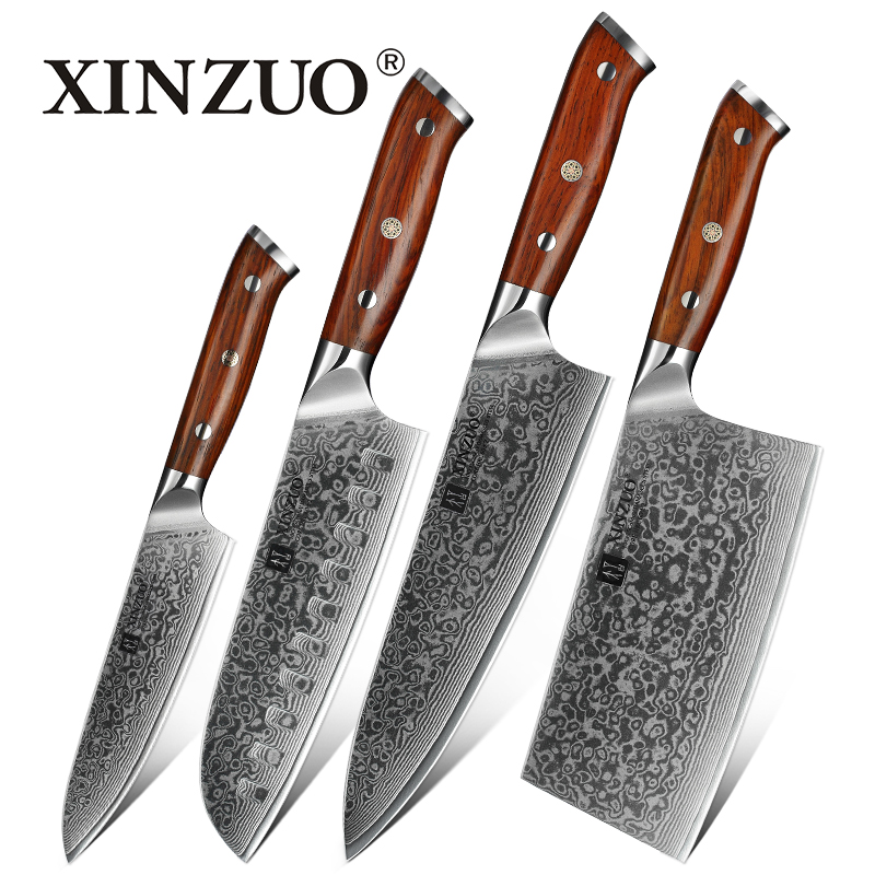 XINZUO 4PCS Kitchen Knife Set Damascus Steel Kitchen Knives Set Stainless Steel Chef Utility Multitool Knife
