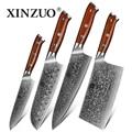 XINZUO 4 piezas conjunto cuchillo de cocina de acero de Damasco conjunto de cuchillos de cocina de acero inoxidable Chef de Multitool cuchillo de mango de palo de rosa