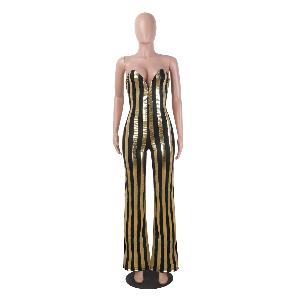 184d608216fb HAOYUAN Gold Balck Striped Rompers Womens Jumpsuit Elegant Off Shoulder  Sexy Bodysuit Party Overalls Female Wide Leg Jumpsuits -in Jumpsuits from  Women s ...