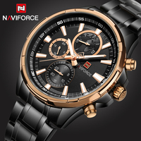 2017 Top Luxury Brand Naviforce Mens Watches Black Steel Quartz Watch Men Casual Sport Chronograph Wristwatch
