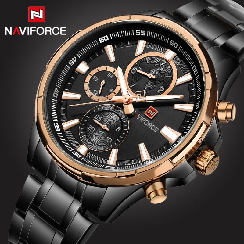 2017 Top Luxury Brand Naviforce Mens Watches Black Steel Quartz Watch Men Casual Sport Chronograph Wristwatch Relogio Masculino