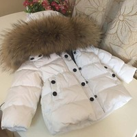 2019 Rissua Winter Thickening Down Jacket Children Outerwear Coats Baby Boys Girls White Duck Down Snowsuit Kids Overcoat Parkas
