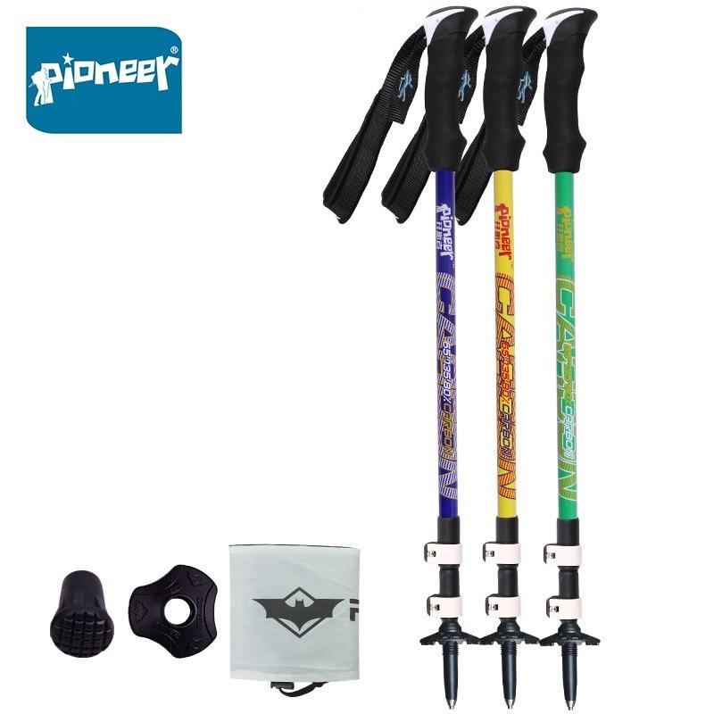 1 Pair Pioneer Ultralight Carbon Fiber Ski Trekking Poles Quick Flip Lock Collapsible Nordic Walking Sticks Canes 2 Pcs-in Walking Sticks from Sports & Entertainment    1