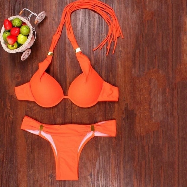 2PCS/SET Sexy Women Bikini Set Summer Solid Color Halter Neck Design Beach Bathing Suit Ladies Swimsuit Swimwear 1