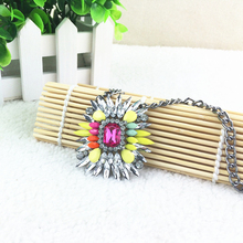 2015 Crystal Flower Necklaces & Pendants For Women Designer Statement Necklace Fashion Luxury Pendant Necklace Jewelry Wholesale