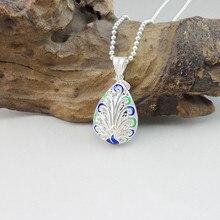 Peacock 999 Sterling Silver Pendant Water Drop Necklace Women Cloisonne Enamel Jewelry Luxury Handmade Ethnic Pendants Hollow