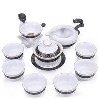 10Pcs Vintage Chinese Porcelain Cups Ge Kiln Kung Fu Tea Cups Retro Drogon Buddha Tea Cup Teapot Cooking Tea Outfit Tool Sets