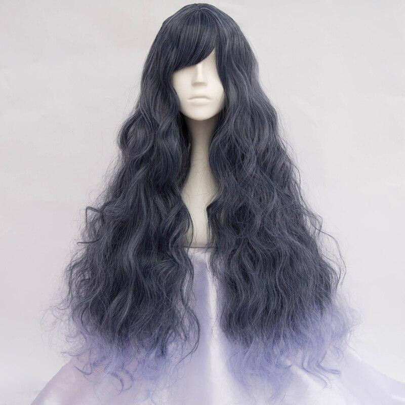 80cm Lolita Halloween Dark Gray Mixed Blue Fluffy Long