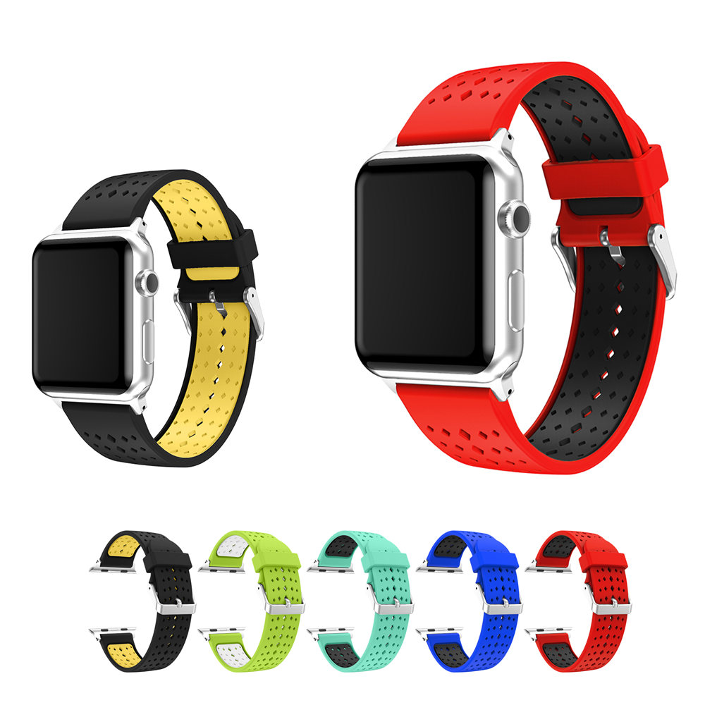Diamond silicone strap for apple watch band 42mm38mm iwatch 321 series band bracelet belt rubber watchband+metal buckle