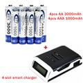 8 шт. AA/AAA NI-MH 1.2 В батареи Аккумуляторная батарея + 4 слот смарт-ЖК-дисплей зарядное устройство бесплатно доставка