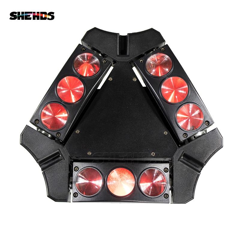 4 st / lot Mini Nya RGBW 9x10W LED Spindelrörelseljus LED-scenljus 9 Ögon 10W RGBW Spider Sueper Beam Light 90W