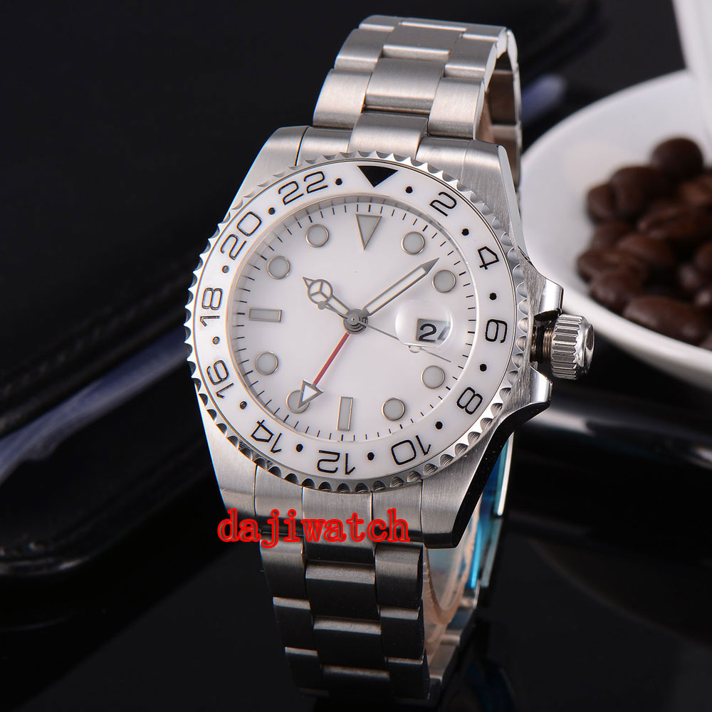 parnis 43mm white dial stainless steel case Sapphire glass calendar GMT mechanical automatic watch men цена 2017