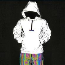 Мода светоотражающий большой карман украшения с длинным рукавом мужская куртка половина молния хип-х Лучши�