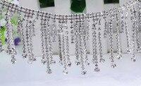 Free Shipping 5cm Width 1yard Lot Crystal Rhinestone Tassel Clear Chain Applique Bridal Dress Trim Sew