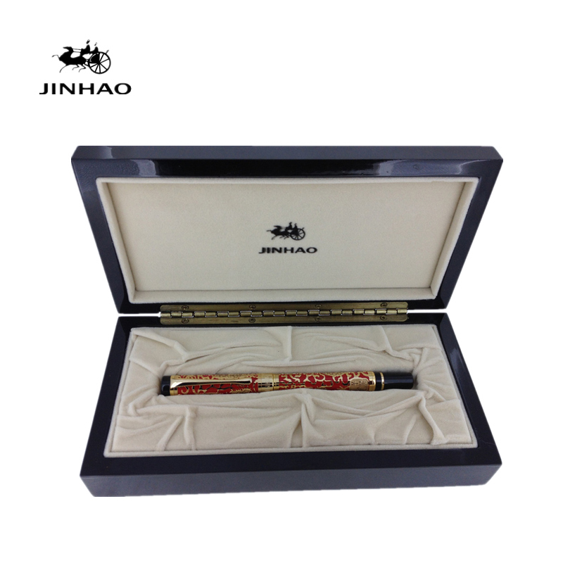 Jinhao 5000 Luxury Gold Dragon Pattern 18KGP Nib Fountain Pen with Original Box for Gift Free Shipping Inking Pens jinhao ancient dragon playing pearl roller ball pen with jewelry on top with original box free shipping