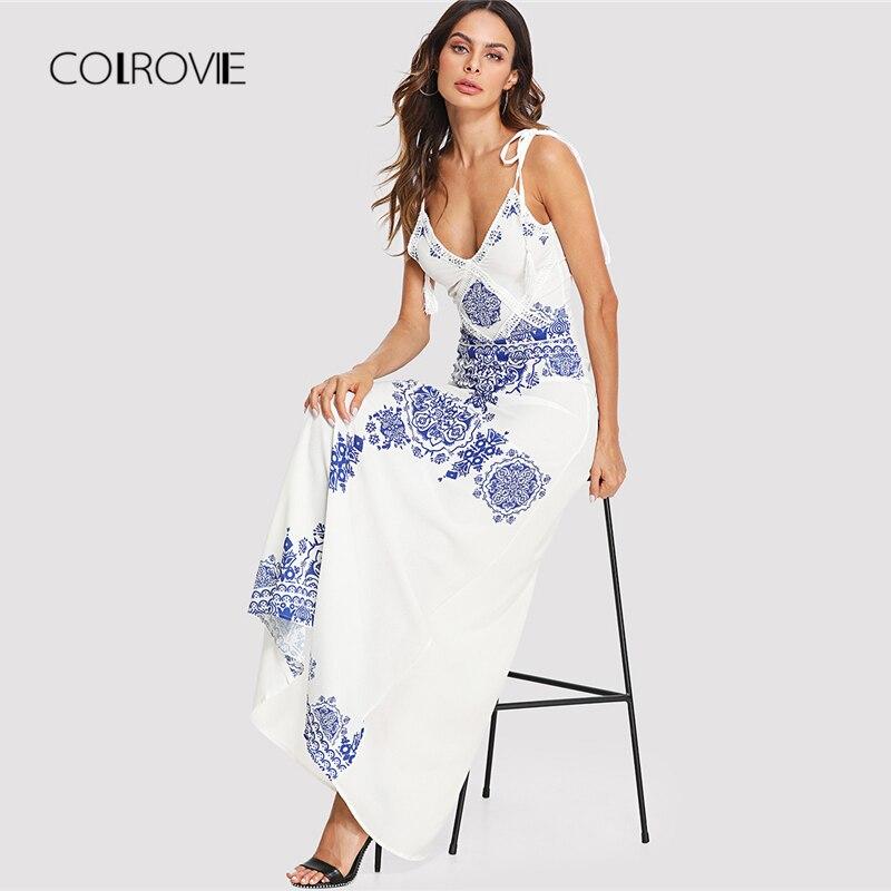 COLROVIE Knot Shoulder Tassel Printed Summer Dress 2018 New Sexy Spaghetti Strap Maxi Dress Beach Dress Vintage Boho Women Dress