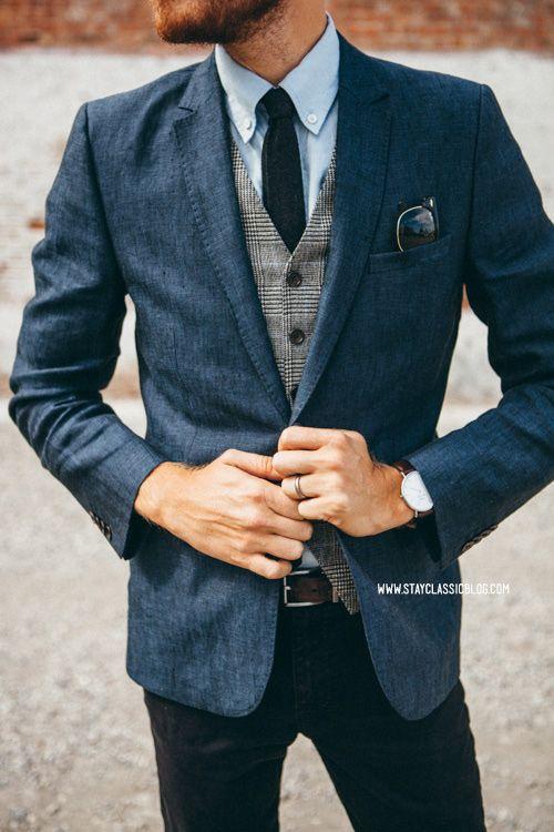 Navy Blue Linen Man Blazer for beach wedding Slim Fit Mens Casual Jacket 2017 Summer Suit