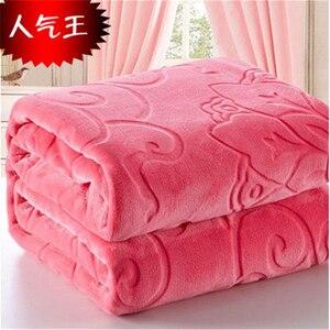 Image 2 - Одеяло на кровать, искусственный мех, коралловый флис, норковый плед, однотонный цвет, рельефное оформление, шезлонг, одеяло на стул