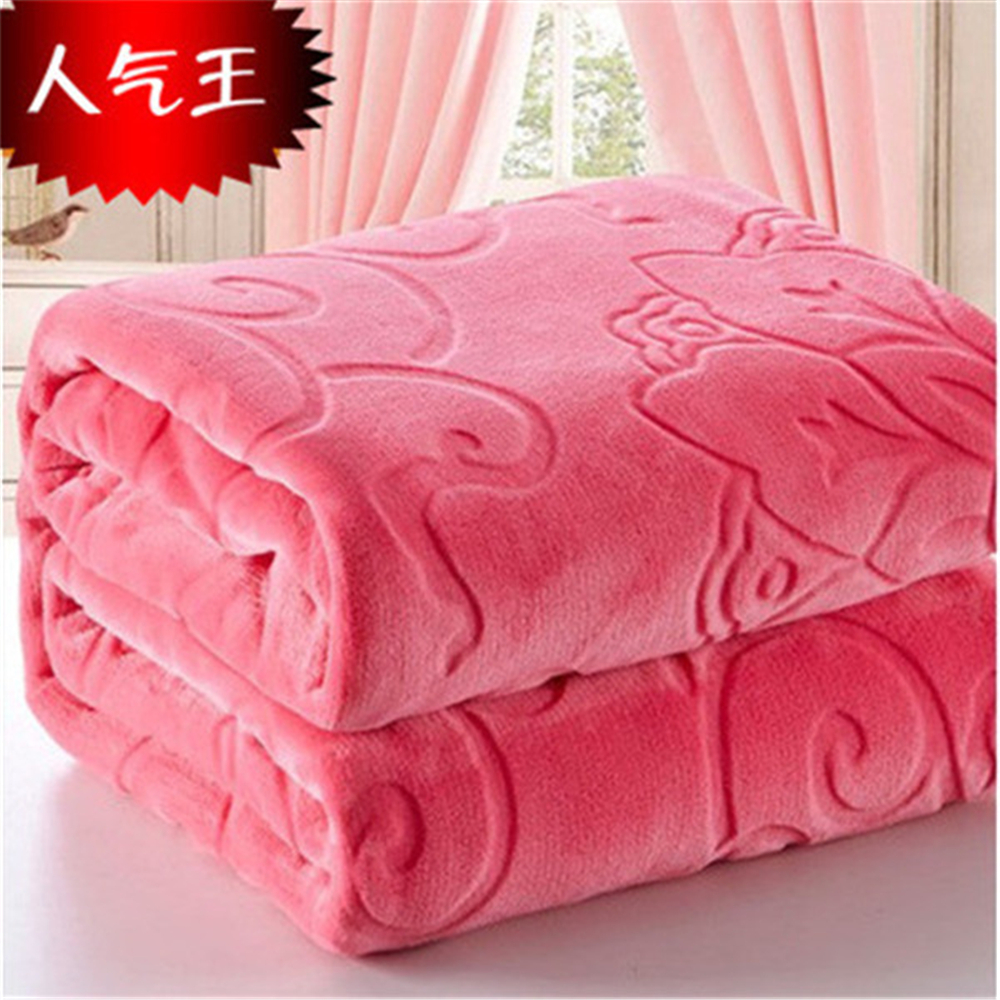 Image 2 - Blanket On The Bed Faux Fur Coral Fleece Mink Throw Solid Color  Embossed Korean Style Sofa Cover Plaid Couch Chair Blanketthe  blanketsmink throwblanket blanket