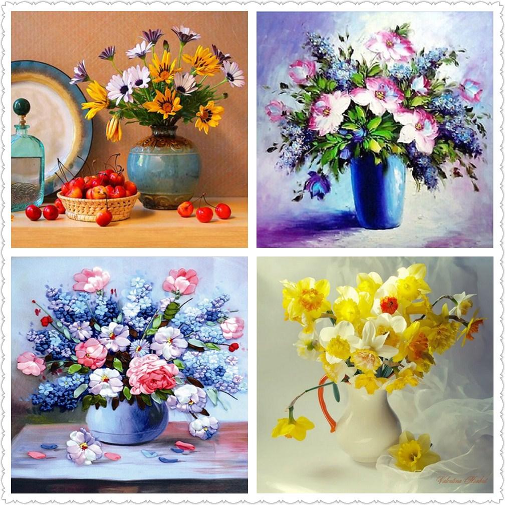 Diamantové vyšívání, Plné, Květiny, 5D, DIY, Diamantové - Umění, řemesla a šití