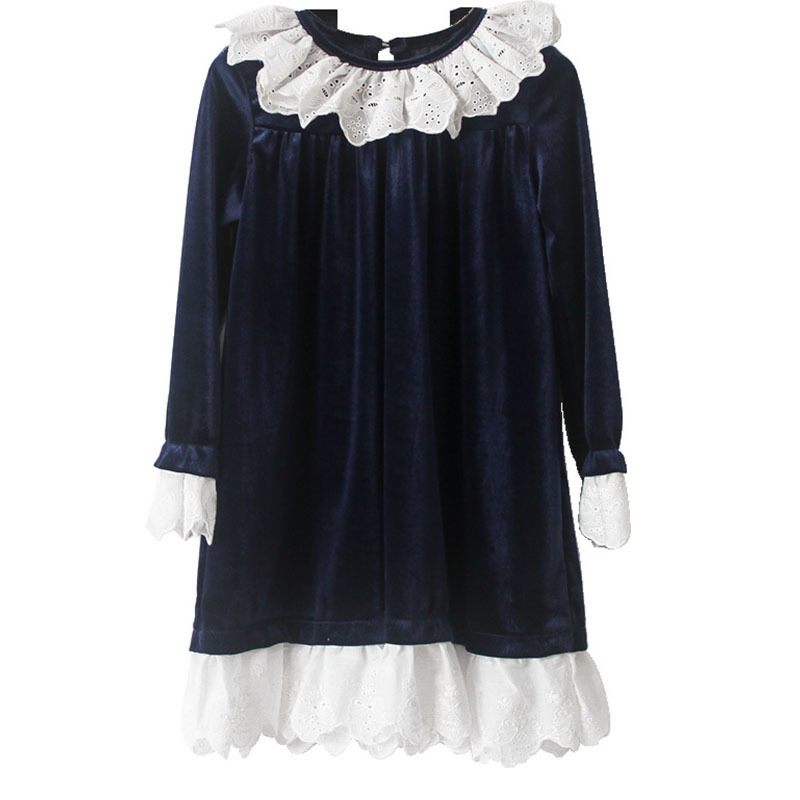 Noël velours adolescent hiver 2019 filles robes décontracté casual volants robe pour fille à manches longues princesse automne vêtements - 4
