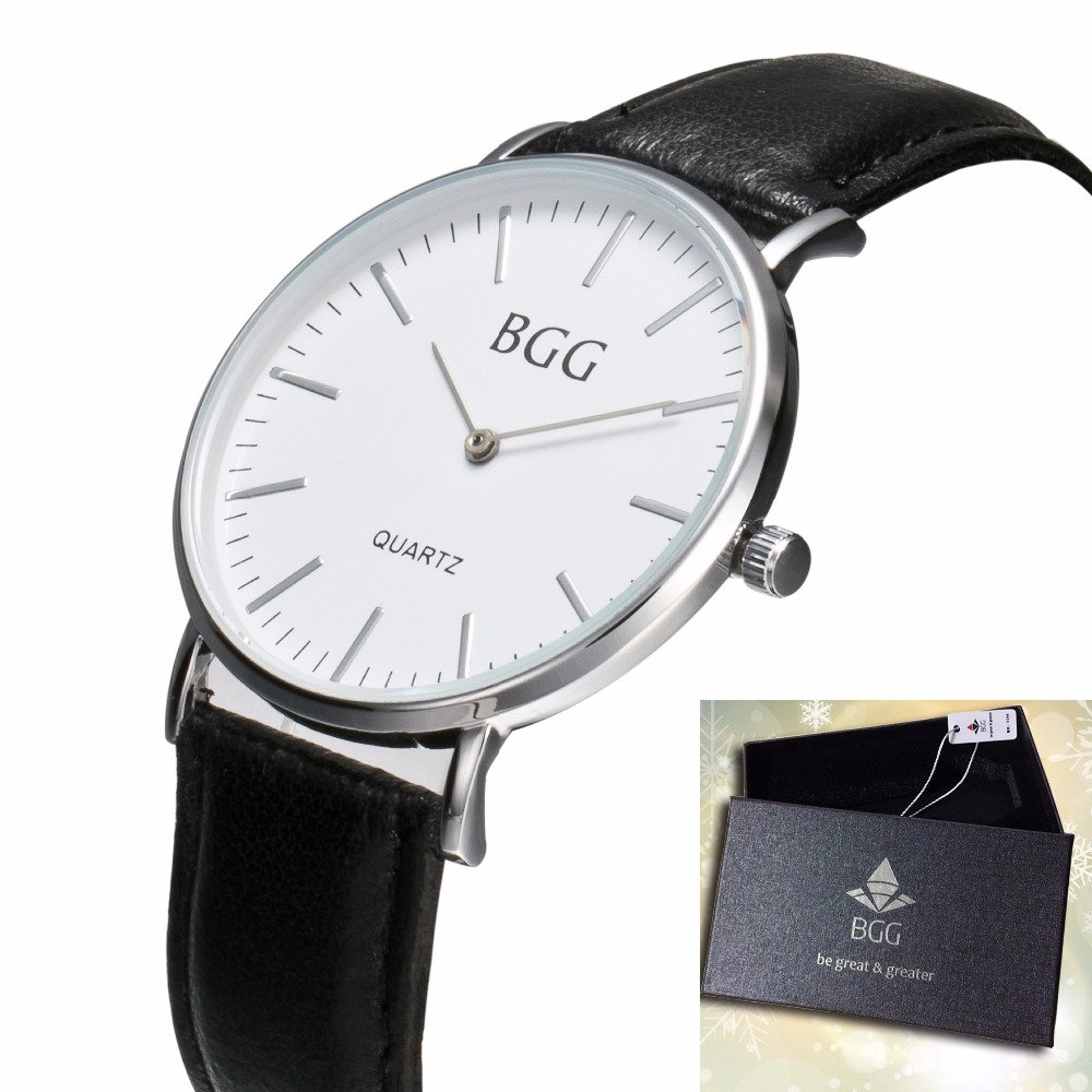 Top Luxury Brand BGG Men Watch Business Casual Genuine Leathe Strap Thin Simple Dial Male Waterproof Quartz Wristwatch forsining luxury mmechanical men wristwatch genuine leathe band unique design dial cost effective male casual fashion watch
