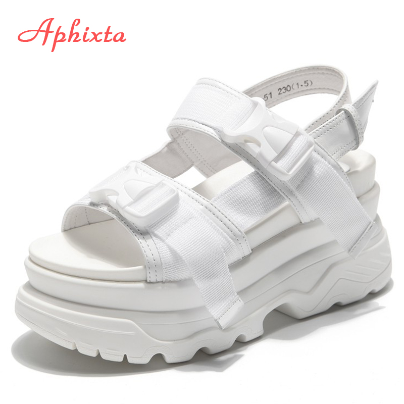 Aphixta Platform Shoes Women Sandals Wedge Heels Shoes Height Increaming Women Buckle Thick Soled Beach Sandals Woman Sandal