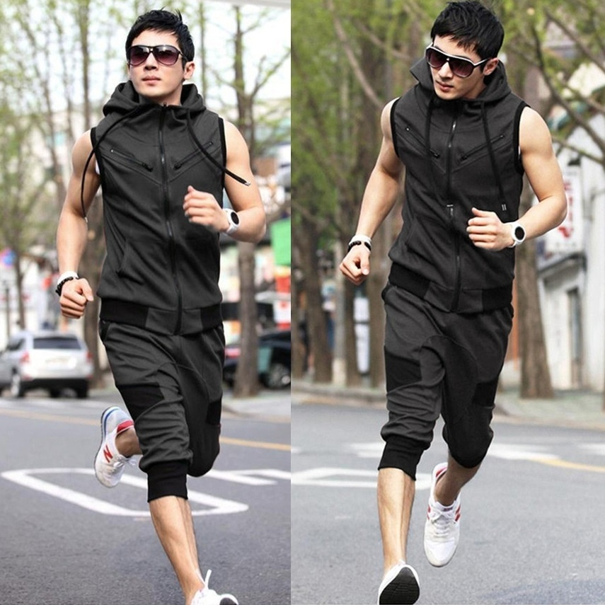 ZOGAA 2019 Men's Set Tie Hooded Joggers Running Sports Sleeveless Solid Sweatshirt and Pants Hoody Slim Fit Vest Shorts Clothing