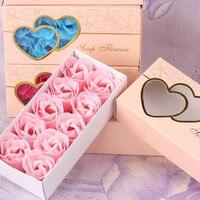 10 teile/schachtel Handgemachte Seife Blume Künstliche Rosen Hochwertigen Box-verpackt Romantische Valentinstag Geschenk Hochzeit Blumen Hause Decor