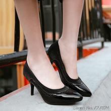 ปั๊ม31 32 33 49 48 47 46 45 44รองเท้าผู้หญิงPUใหม่ส้นสูง7เซนติเมตรบางส้นขนาดEUR 30-50