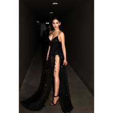 Fast Shipping 2018 Sexy Gold Lace Halter Deep V -Neck Long Party Dress Sequined Spaghetti Strap Two Split Sequin Maxi Dresses