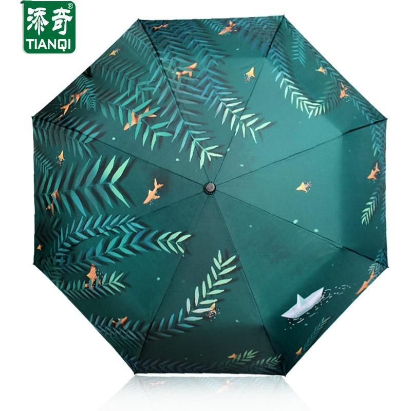 Творческий узор (набережной воды ива) 3 складной зонтик женщин двойной утолщение зонт дождь женские зонты
