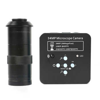 2K 34MP 1080P 60FPS Electronic Microscopio HDMI/USB Digital Microscope Camera Video Magnifier 100X 180X 300X Zoom C-mount Lens - DISCOUNT ITEM  14 OFF Tools