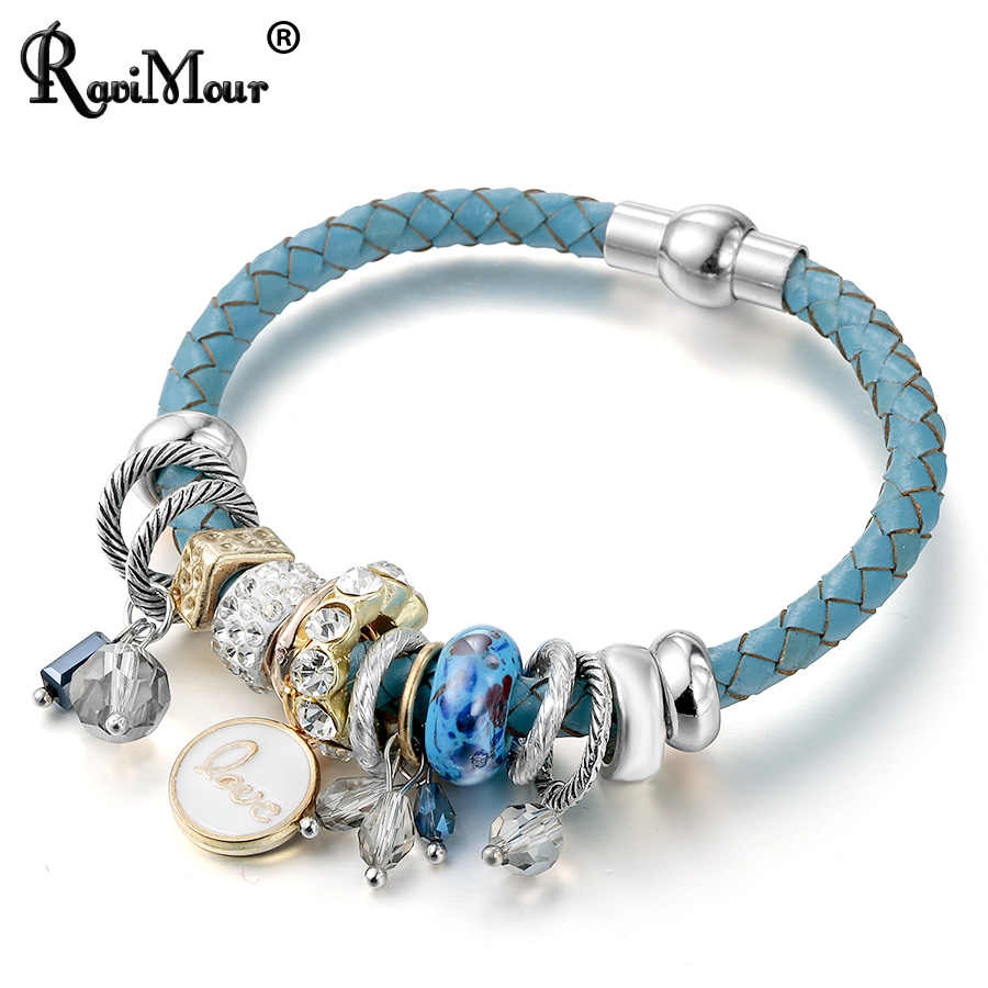 RAVIMOUR Magnet Love Charms Bracelet for Women Fashion PU Leather Bracelets & Bangles Cuff Wristband Bijoux Valentines Day gift